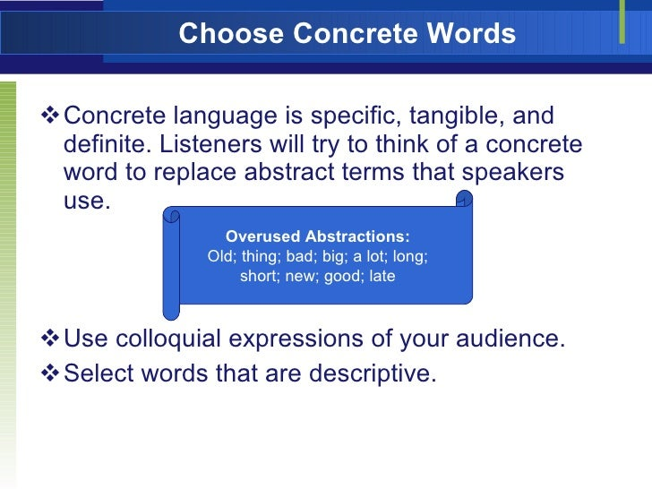 Chapter 16 using language to stlye the speech 1 for Concrete diction