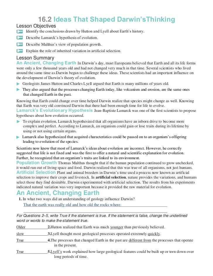 Chapter 16 worksheets – Evolution Worksheet