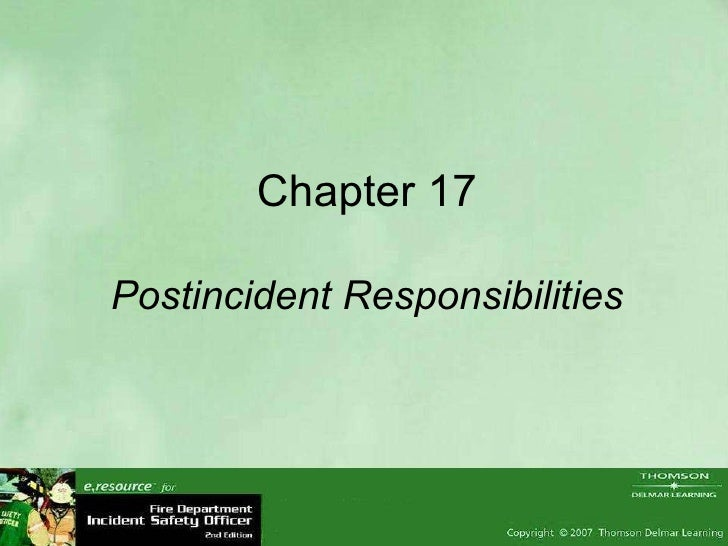 Chapter 17 Postincident Responsibilities