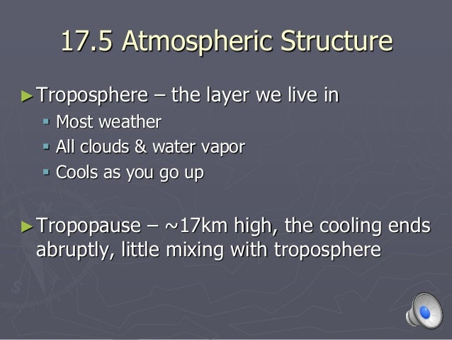 17.5 Atmospheric Structure ►Troposphere – the layer we live in  Most weather  All clouds & water vapor  Cools as you go...