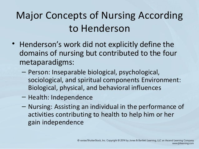 nursing concepts of virginia henderson Description: the henderson theory of nursing was developed by virginia henderson she did not believe that she was setting out a theory, and preferred it to be thought as a definition whether it is considered a definition or a theory, it has had a wide influence on concept and practice of nursing.