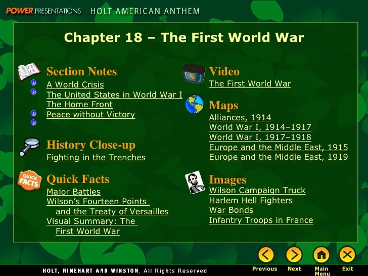 Chapter 18 – The First World WarSection Notes                      VideoA World Crisis                     The First World...