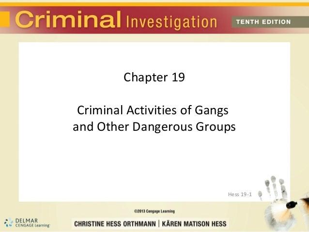 Chapter 19 Criminal Activities of Gangsand Other Dangerous Groups                           Hess 19-1