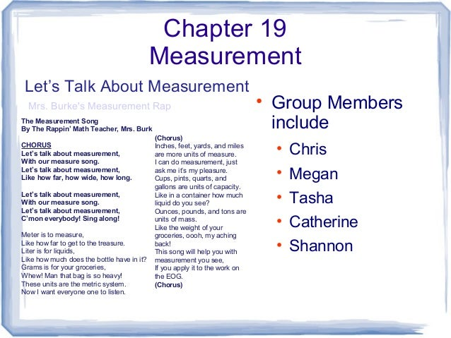 Chapter 19 Measurement • Group Members include • Chris • Megan • Tasha • Catherine • Shannon Let's Talk About Measurement ...