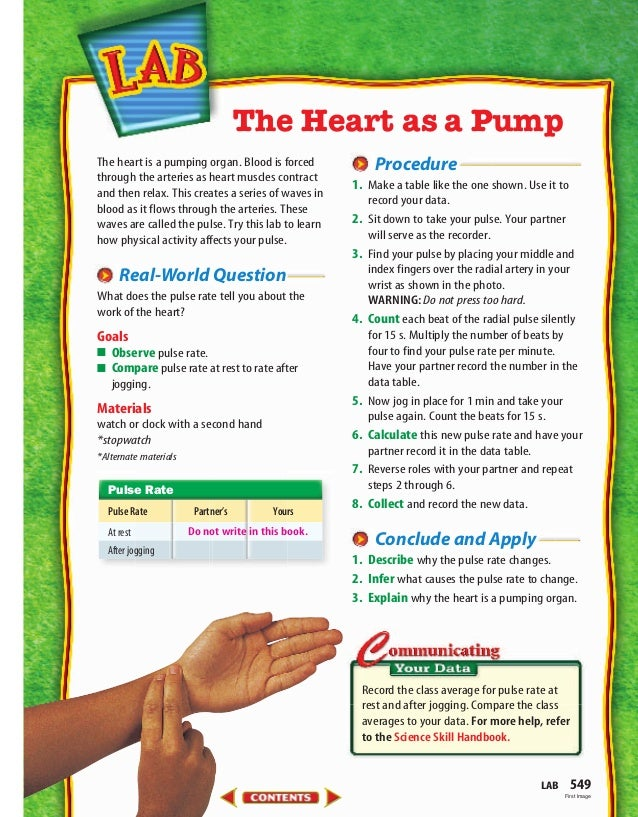 The heart is a pumping organ. Blood is forced through the arteries as heart muscles contract and then relax. This creates ...