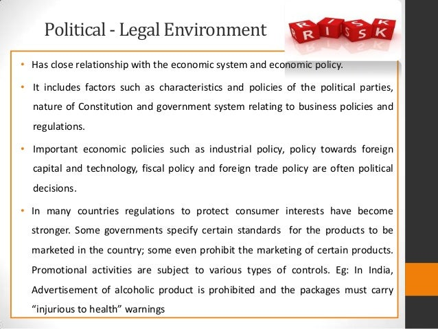 political and legal environment affects business Massive in scale and has come to exercise a major influence over political, economic border environment many of the parameters and environmental variables that are very important in international business (such as foreign legal systems political and legal environment is not the same in all provinces of many home.