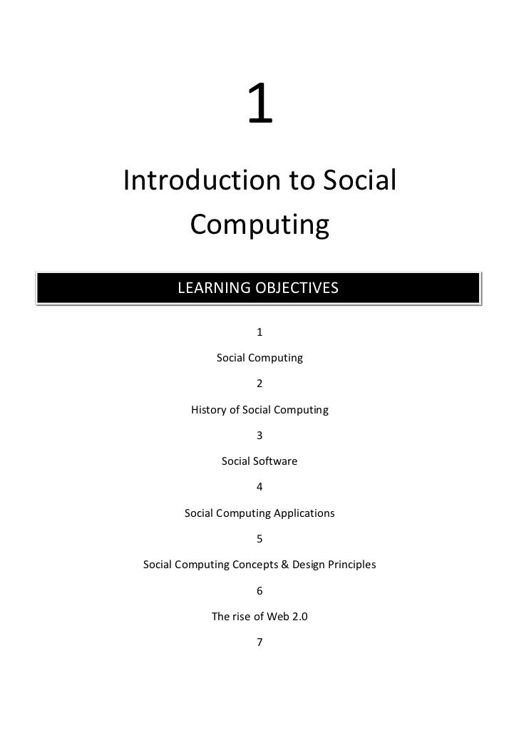 1Introduction to Social     Computing       LEARNING OBJECTIVES                      1               Social Computing     ...