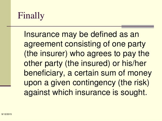 Chapter 1[definition and nature of insurance]