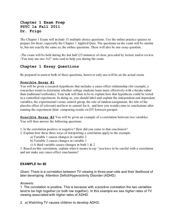 chapter essay instructions chapter 1 exam preppsyc 1a fall 2011dr frigothe chapter 1 exam will include 15 multiple