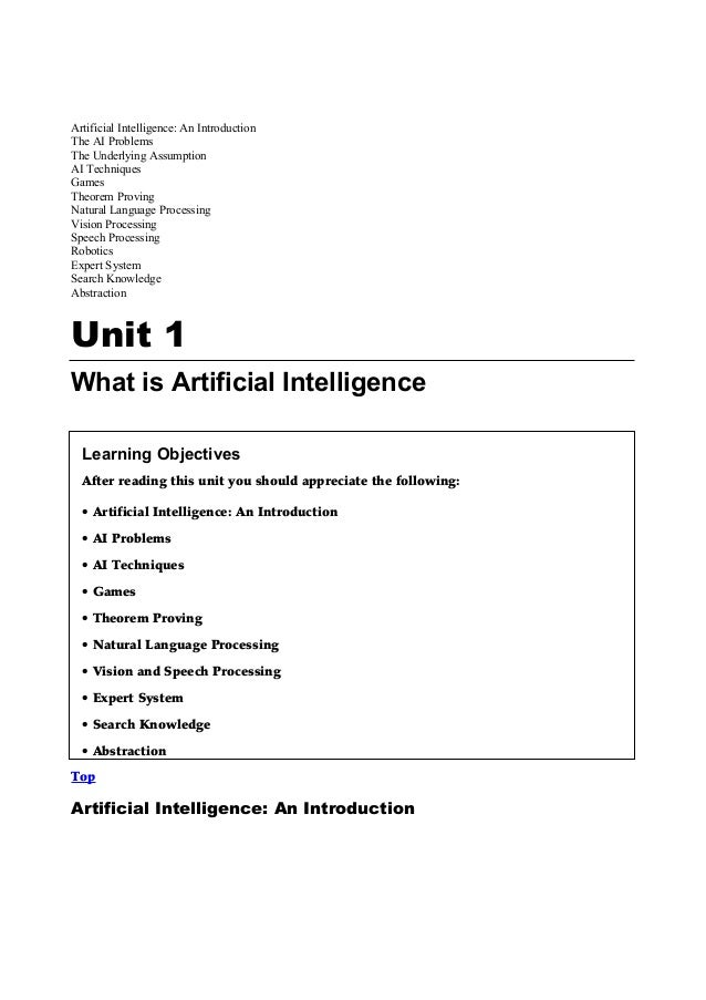 Artificial Intelligence: An IntroductionThe AI ProblemsThe Underlying AssumptionAI TechniquesGamesTheorem ProvingNatural L...