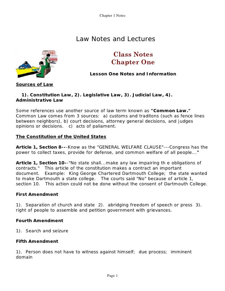 Chapter 1 Notes                               Law Notes and Lectures                                            Class Note...
