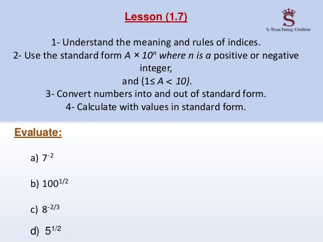 Chapter 1 Numbers Igcse Part 2
