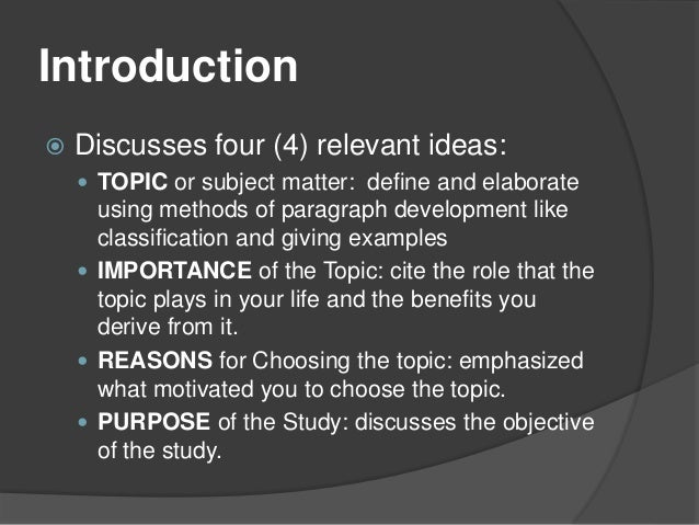 Chapter 1 research paper introduction topic