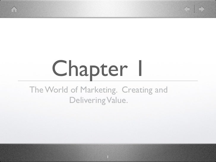 Chapter 1The World of Marketing. Creating and         Delivering Value.                    1