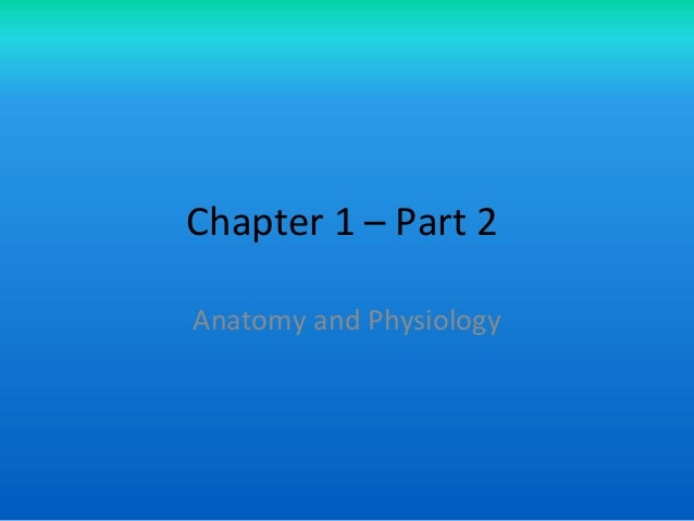 Chapter 1 – Part 2 Anatomy and Physiology