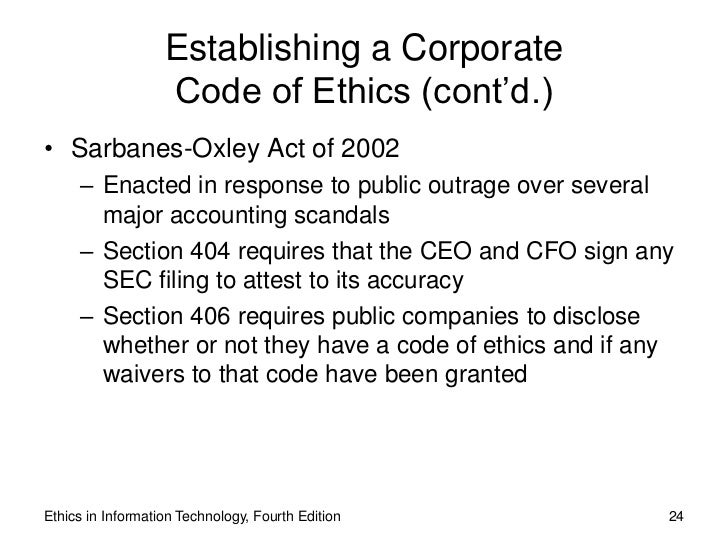 ethics sarbanes oxley act of 2002 Finance & administration » risk management » compliance & ethics » sarbanes oxley act of 2002 sarbanes oxley act of 2002 search form search menu compliance.