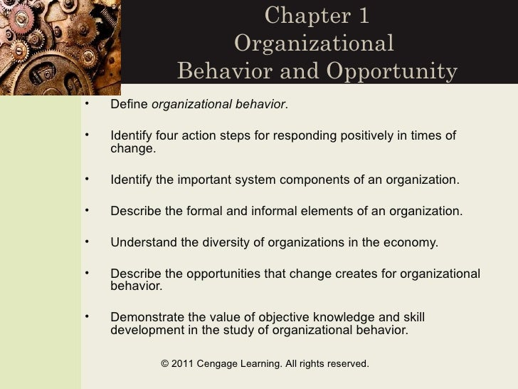 Chapter 1                    Organizational                Behavior and Opportunity•   Define organizational behavior.•   ...