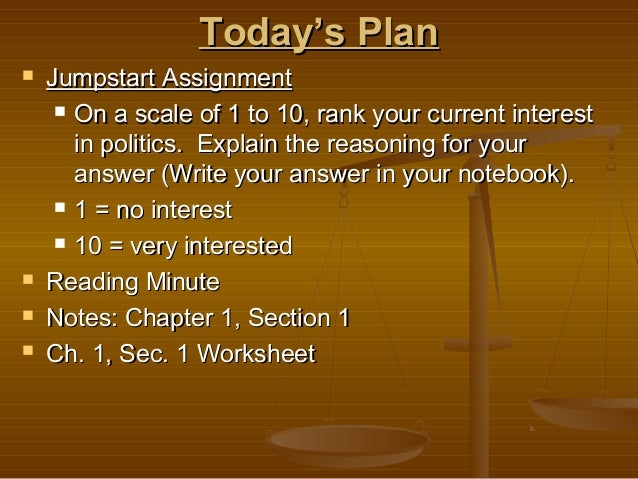 Today's PlanToday's Plan  Jumpstart AssignmentJumpstart Assignment  On a scale of 1 to 10, rank your current interestOn ...