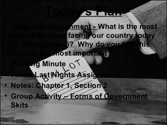 Today's Plan • Jumpstart Assignment - What is the most important issue facing our country today (in your opinion)? Why do ...
