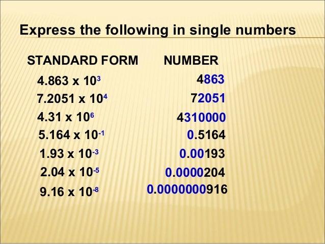 Chapter 1 standard form