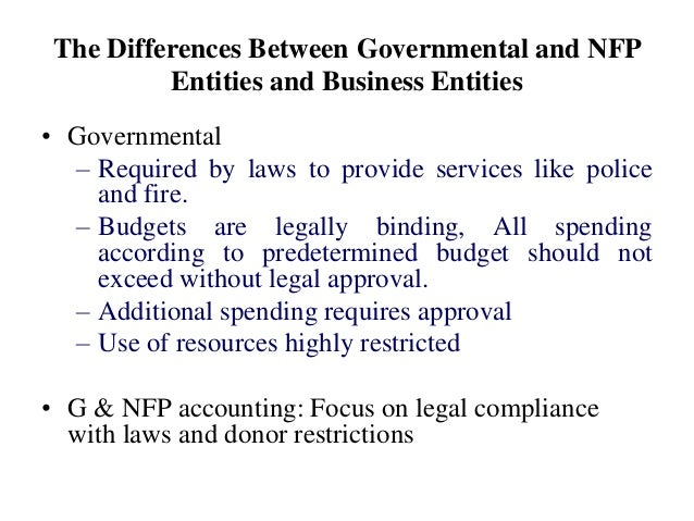 The Differences Between Governmental and NFP Entities and Business Entities • Governmental – Required by laws to provide s...