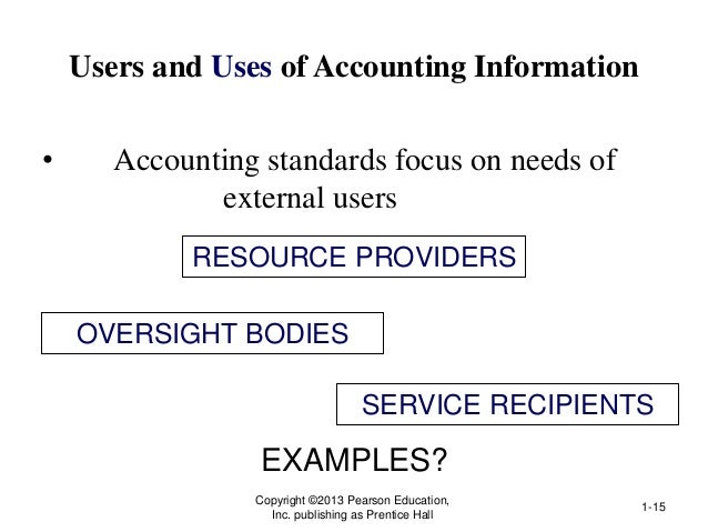 Users and Uses of Accounting Information • Accounting standards focus on needs of external users Copyright ©2013 Pearson E...