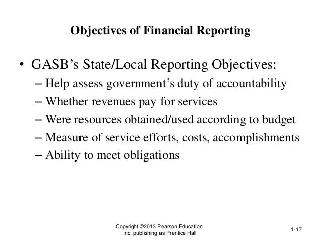 Objectives of Financial Reporting • GASB's State/Local Reporting Objectives: – Help assess government's duty of accountabi...