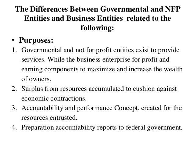The Differences Between Governmental and NFP Entities and Business Entities related to the following: • Purposes: 1. Gover...