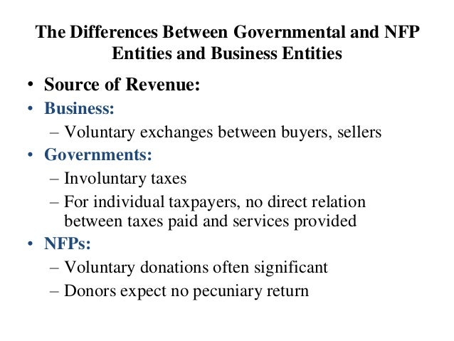 The Differences Between Governmental and NFP Entities and Business Entities • Source of Revenue: • Business: – Voluntary e...