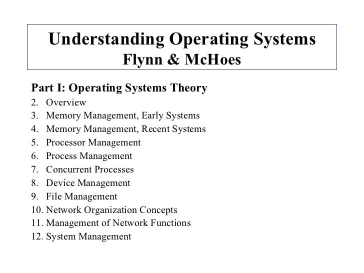 Understanding Operating Systems Flynn & McHoes <ul><li>Part I:   Operating Systems Theory </li></ul><ul><li>Overview </li>...
