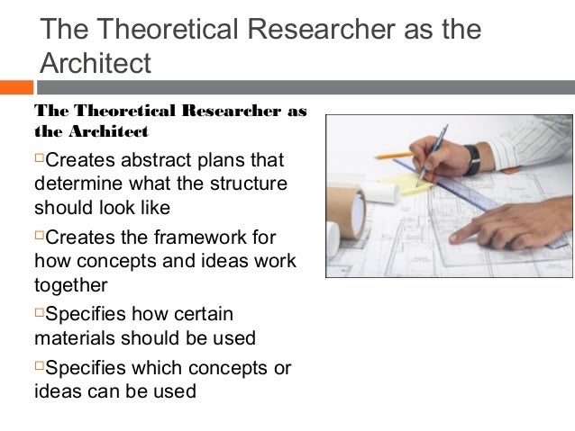 The Theoretical Researcher as the Architect The Theoretical Researcher as the Architect Creates abstract plans that deter...