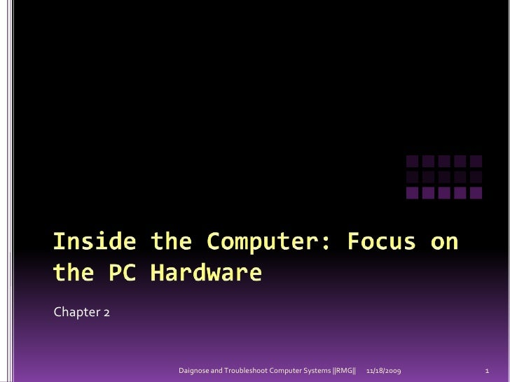 Inside the Computer: Focus on the PC Hardware<br />Chapter 2<br />11/18/2009<br />1<br />Daignose and Troubleshoot Compute...