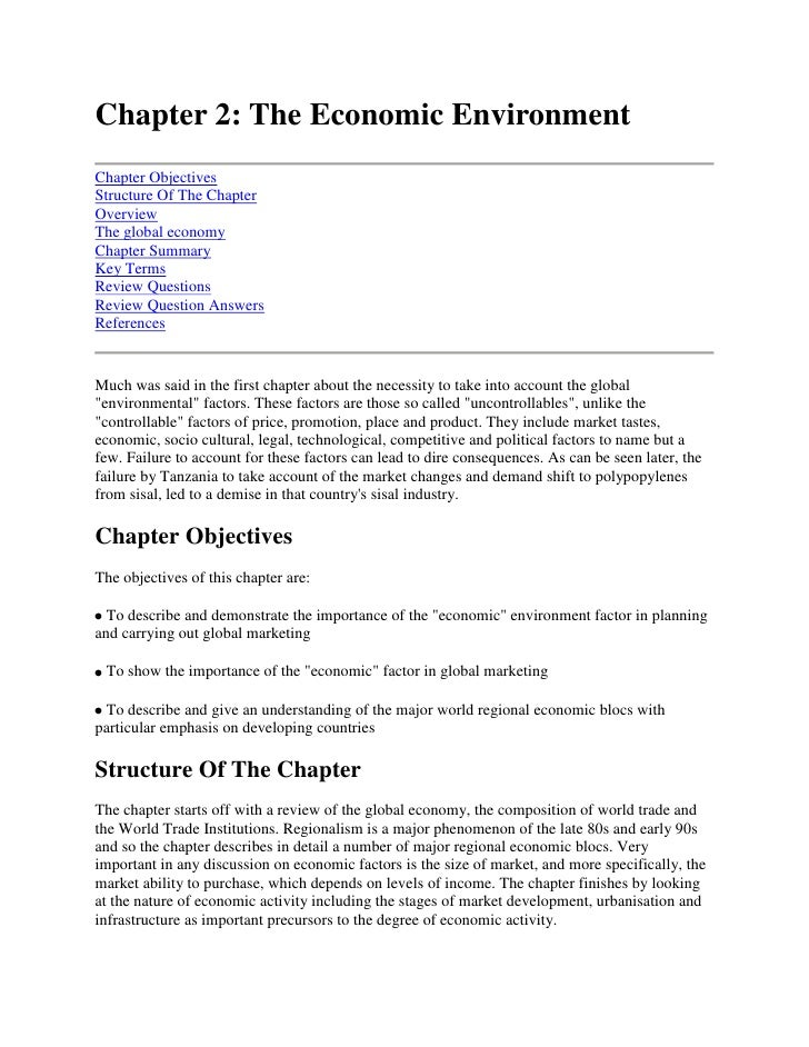 Chapter 2: The Economic Environment<br />Chapter ObjectivesStructure Of The ChapterOverviewThe global economyChapter Summa...
