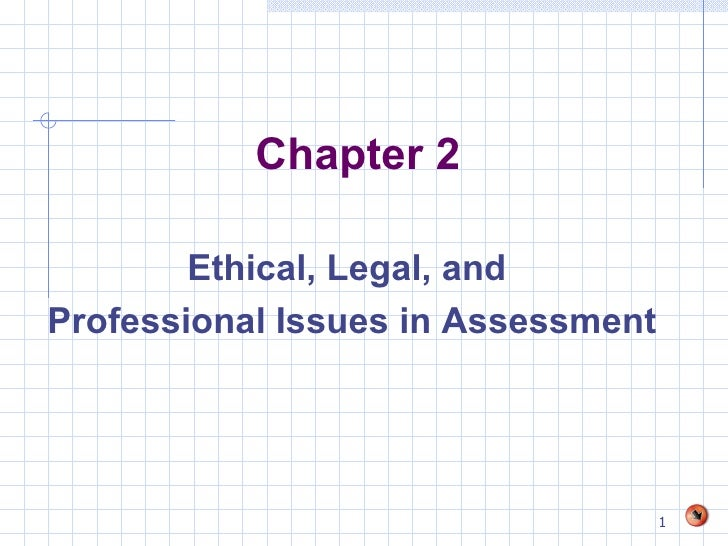 Chapter 2 <ul><li>Ethical, Legal, and  </li></ul><ul><li>Professional Issues in Assessment </li></ul>