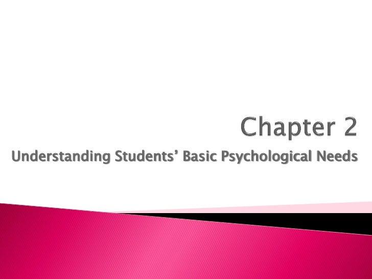 Understanding Students' Basic Psychological Needs