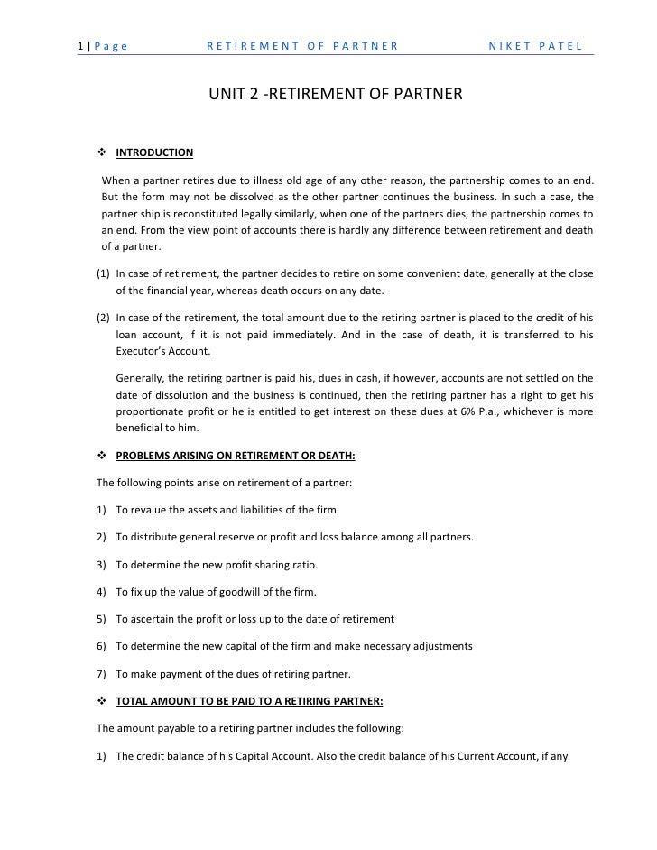 1 Page                    RETIREMENT OF PARTNER                                      NIKET PATEL                          ...