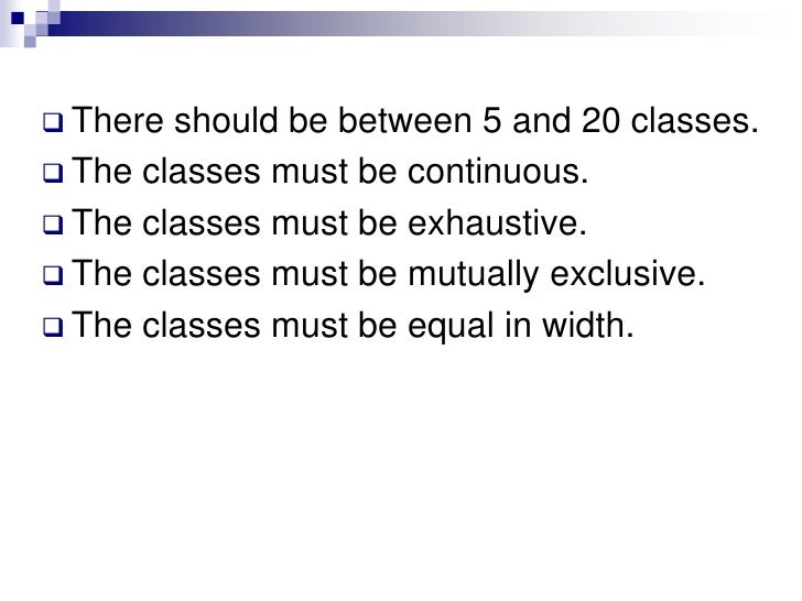 The classes must be continuous.