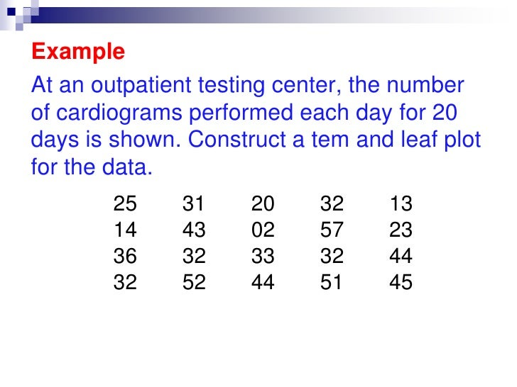 Stem and Leaf Plots<br />A stem and leaf plot is a data plot that uses part of the data value as the stem and part of the ...
