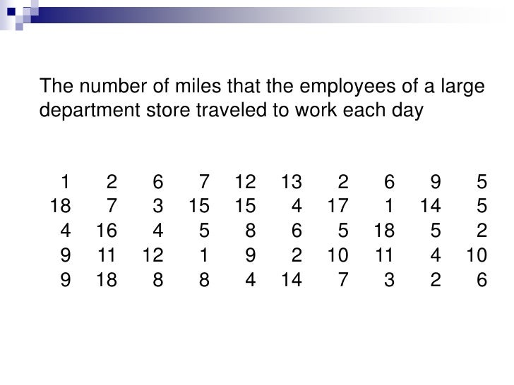 The number of miles that the employees of a large department store traveled to work each day<br />