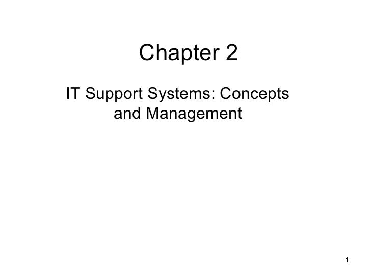Chapter 2IT Support Systems: Concepts      and Management                               1