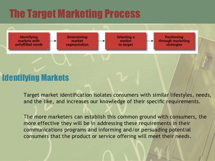 The Target Marketing ProcessIdentifying Markets      Target market identification isolates consumers with similar lifestyle...