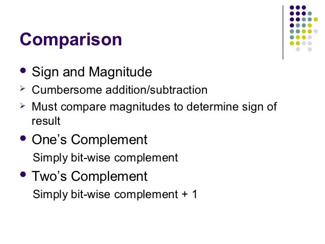 Comparison Sign   and Magnitude   Cumbersome addition/subtraction   Must compare magnitudes to determine sign of    res...