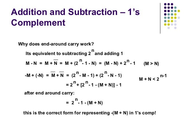 Addition and Subtraction – 1'sComplement Why does end-around carry work?                                  n   Its equivale...