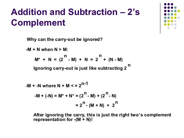 Addition and Subtraction – 2'sComplement   Why can the carry-out be ignored?   -M + N when N > M:                   n     ...