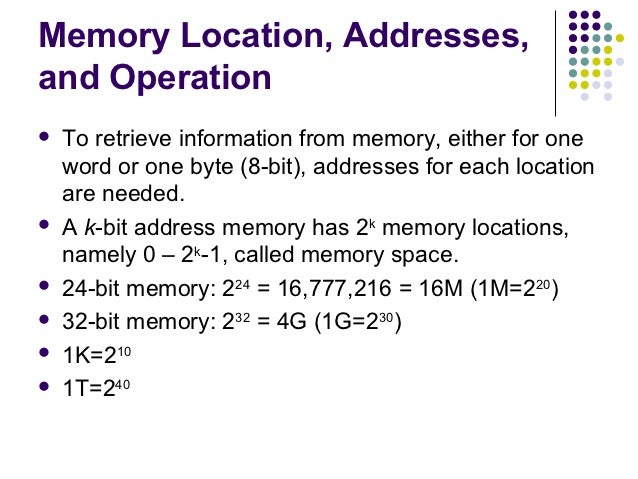 Memory Location, Addresses,and Operation   To retrieve information from memory, either for one    word or one byte (8-bit...