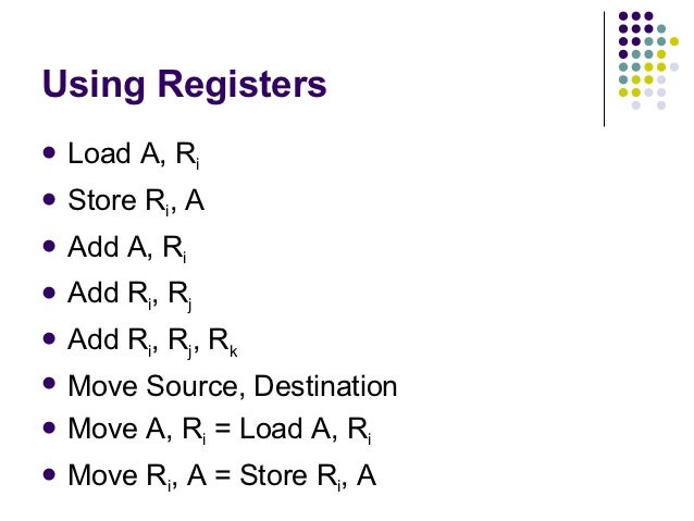 Using Registers Load    A, Ri Store   Ri, A Add   A, Ri Add   Ri, Rj Add   Ri, Rj, Rk Move Source, Destination Move...