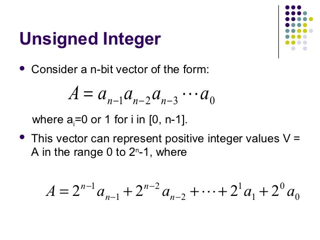 Unsigned Integer   Consider a n-bit vector of the form:           A = an −1an − 2 an − 3  a0    where ai=0 or 1 for i in...