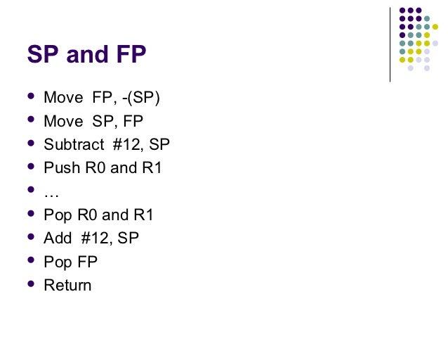 SP and FP   Move FP, -(SP)   Move SP, FP   Subtract #12, SP   Push R0 and R1   …   Pop R0 and R1   Add #12, SP   P...