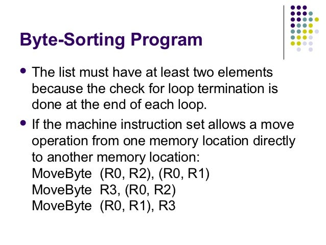 Byte-Sorting Program The   list must have at least two elements  because the check for loop termination is  done at the e...
