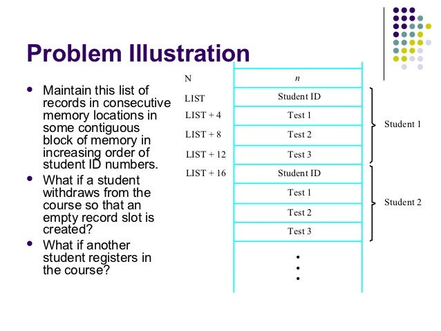 Problem Illustration                             N               n   Maintain this list of                Student ID     ...